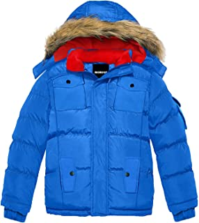MORCOE Boys' Fleece Puffer Coat Winter Warm Quilted Padded Outerwear Thicken Jacket with Removable Hood