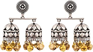Voylla Jhumki Earrings for Women (Silver)(8907617853833)