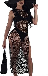 Womens Sexy Sleeveless Hollow Net See Through High Split Party Club Beach Dress