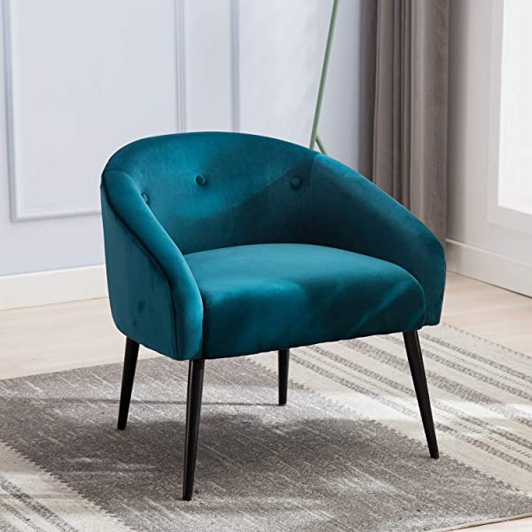 Upholstered Tufted Blue Velvet Accent Chair JULYFOX Mid Century Modern Accent Arm Chair 330LB Heavy Duty 22 Inch Extra Wide Seat 6 Inch Thick Padded Club Side Tub Chair For Living Room Bedroom Office