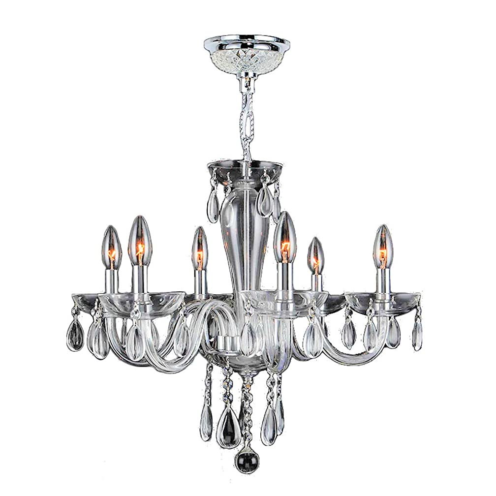Worldwide Lighting Gatsby Collection 6 Light Chrome Finish and Clear Blown Glass Chandelier 22