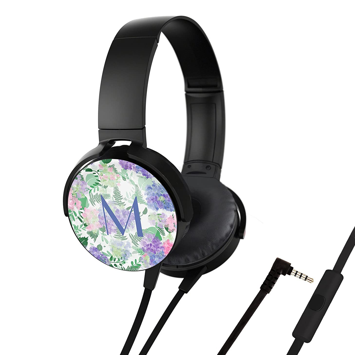 Headsets, On - Ear Stereo Customized Headphones [Free-Hands Call], Portable Headphones with Mic Soft Ear Cushion for Smartphones, iPhone, iPad, Laptop, Computers - Beautiful Watercolor Hydrangea