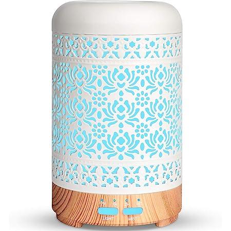 SALKING Diffusore di Oli Essenziali con Rosa Olio Essenziali, 100ml Metallo Diffusore di Aromi, Ultrasuoni Umidificatore Diffusori Olio Essenziale con 7 Colori LED Luce Notturna, Senza BPA