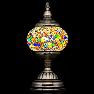 Mosaic Lamp-Handmade Turkish Mosaic Table Lamp with Mosaic Lantern,Bronze Base,Unique Table Lamp for Room Decoration(Red,Blue)