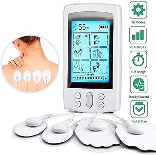 Electroestimulador Digital Masaje EMS TENS Portatil, 16 Modos 8 Pads 2 Canales Estimulador Muscular Recargable Masajeador Electro para Alivio del Dolor de Cervical/Piernas/Abdominal/Espalda/Cuello