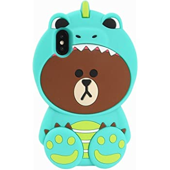 """Artbling Case for iPhone Xs Max 6.5""""Silicone 3D Cartoon Animal Cover, Kids Girls Cool Fun Lovely Cute Bear Cases,Kawaii Soft Rubber Unique Character Fashion Protector for iPhone Xs Max(Green Dinosaur)"""