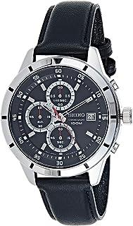 Seiko Black Men's Chronograph Quartz Watch with Leather Strap SKS571P1
