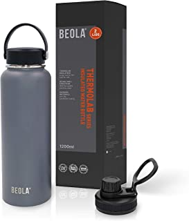 BEOLA 1200ml Water Bottle 18/8 Stainless Steel 304 Double Wall Insulated Thermos Bottle with a wide mouth, 2 lids include...