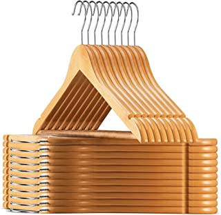 High-Grade Wooden Suit Hangers 30 Pack with Non Slip Pants Bar – Smooth Finish..