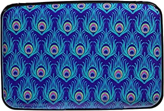 Caranda RFID Aluminum Wallet Credit Cards Holder Metal ID Case for Men Women (Peacock Feathers)