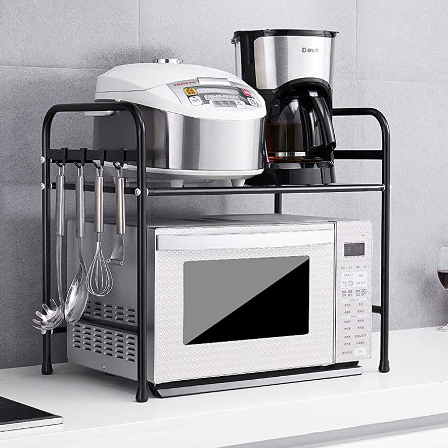 厚い今まで含むキッチン棚電子レンジ棚2フロア棚ダブルストレージシェルフオーブン棚キッチン用品 ( 色 : ブラック )