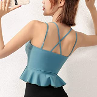Cloud Hide Pink Sports Bra Women Flounce Yoga Crop Top Girl Bras Push Up Vest Fitness Underwear Gym Shirt Activewear Plus ...
