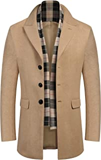 COOFANDY Men's Wool Blend Coat with Detachable Scarf Single Breasted Trench Coat Winter Warm Pea Coats Woolen Jackets