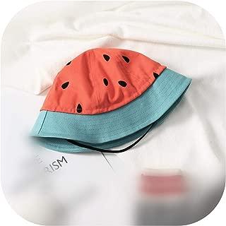 Magic Day Kid Mom Using Watermelon Cucumber Print Outdoor Fisherman Hat Foldable Bucket Hat,Red,Kid Less 52Cm