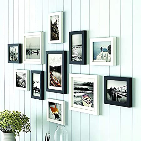 Painting Mantra Art Street Boulevard Photo Frame Set of 11 Picture Frames for Wall Hanging (8x10-3 pcs, 6x8-8 pcs)-Black and White, synthetic wood