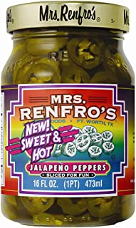 Mrs. Renfro's Sweet & Hot Jalapeno Peppers, Gluten Free, No Added Sugar, 16 oz..