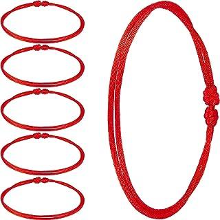 سوار قبالة ذو عقد مصنوع من حبل احمر قابل للتعديل من 6 قطع، تميمة مذهلة للحماية من الحسد وجلب الحظ الجيد، تصميم كلاسيكي