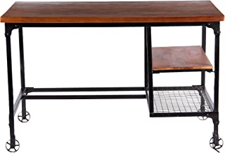 Benjara Industrial Style Wood and Metal Desk with Two Bottom Shelves, Brown and Black,