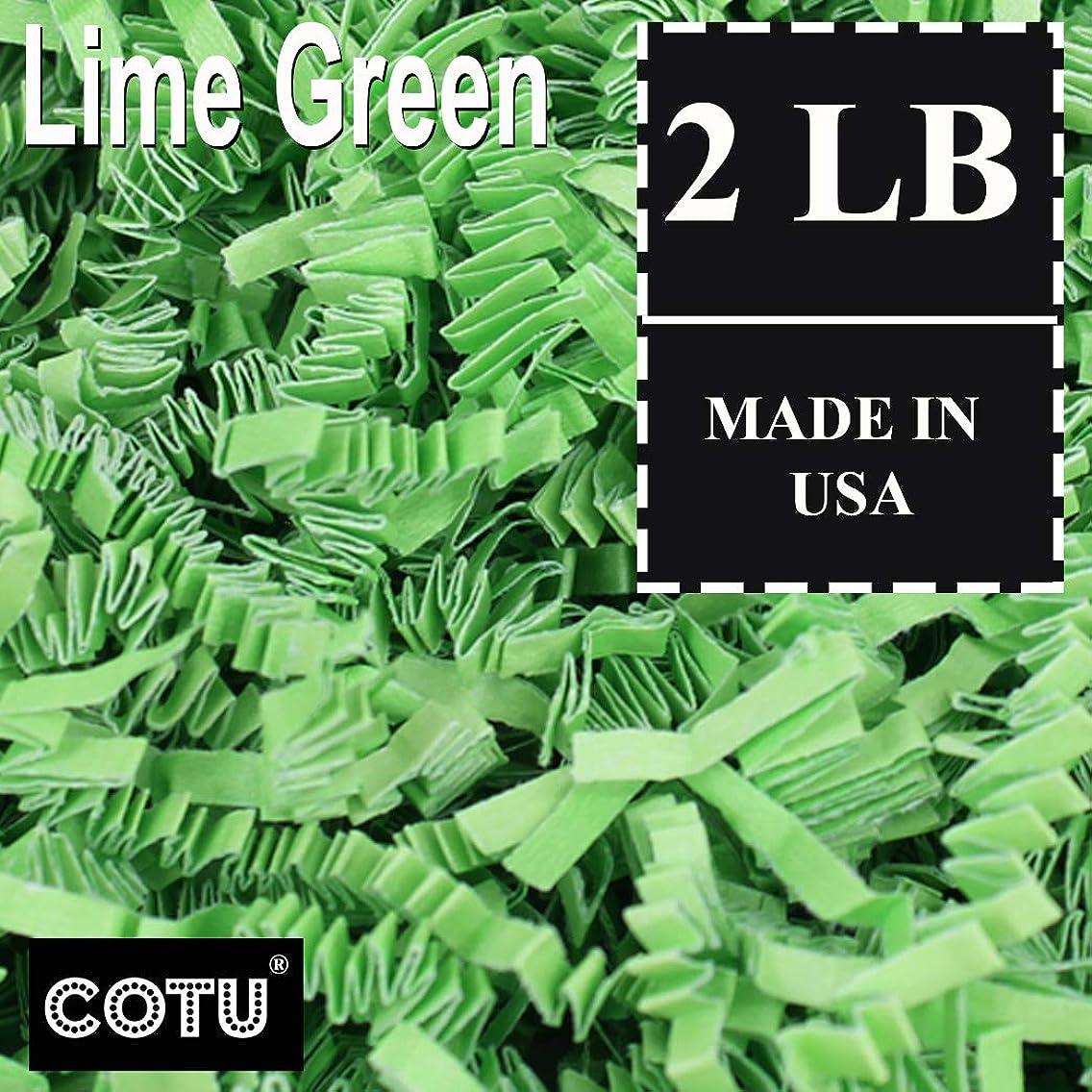 COTU (R) 2 LB Lime Green Crinkle Shred Gift Basket Shred Crinkle Paper Filler Bedding (32 oz) in a Box