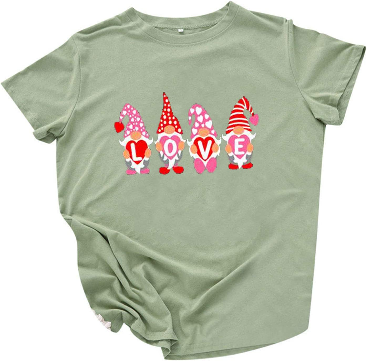 Womens Valentines Day Shirt Dressy Gnome Cute All items free shipping Tulsa Mall Love Print Letter