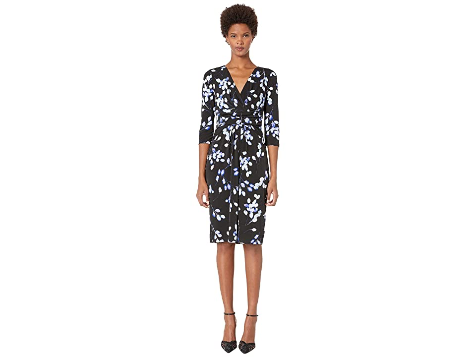 London Times Matte Jersey 3/4 Sleeve Midi Dress (Black/Aqua) Women
