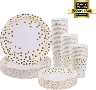 Gold Plates and Cups set for 50 - Disposable Gold paper plates and cups 150 pcs total. Bonus Party Printables Ebook included