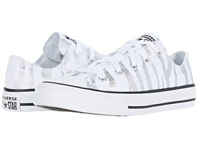 Converse Kids Chuck Taylor(r) All Star(r) Zebra Foil Ox (Little Kid/Big Kid) (White/Black/White) Girl