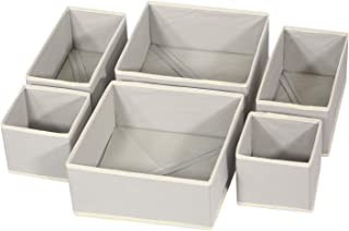 Lesley Ye Foldable Cloth Storage Box Closet Dresser Drawer Organizer Fabric Baskets Bins Containers Divider with Drawers for Clothes, Underwear, Bras, Socks, Clothing, Set of 6 (Grey)