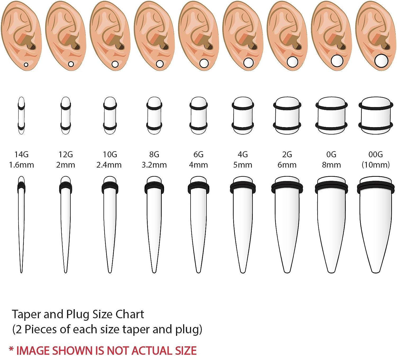 BodyJ4You 36PC Gauges Kit Acrylic Taper Plug 14G-00G Ear Stretch Set Double O-Ring Piercing Jewelry
