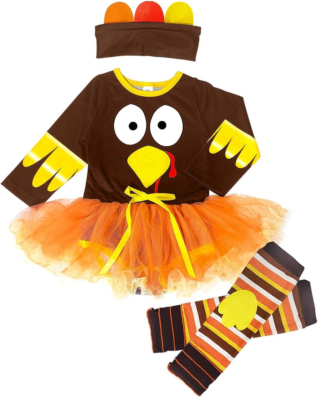 Camlinbo Baby Girl Thanksgiving Turkey Outfit Infant Newborn Suit Romper Tutu Skirt Leg Warmers 3Pcs Clothes Set 6-24M
