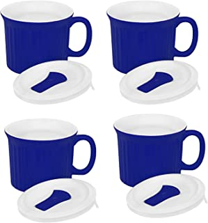 ArtMuseKitsMikash Corningware Pop-Ins 20-Ounce Mug with Blue Vented Plastic Cover, Blueberry (Pack of 4)