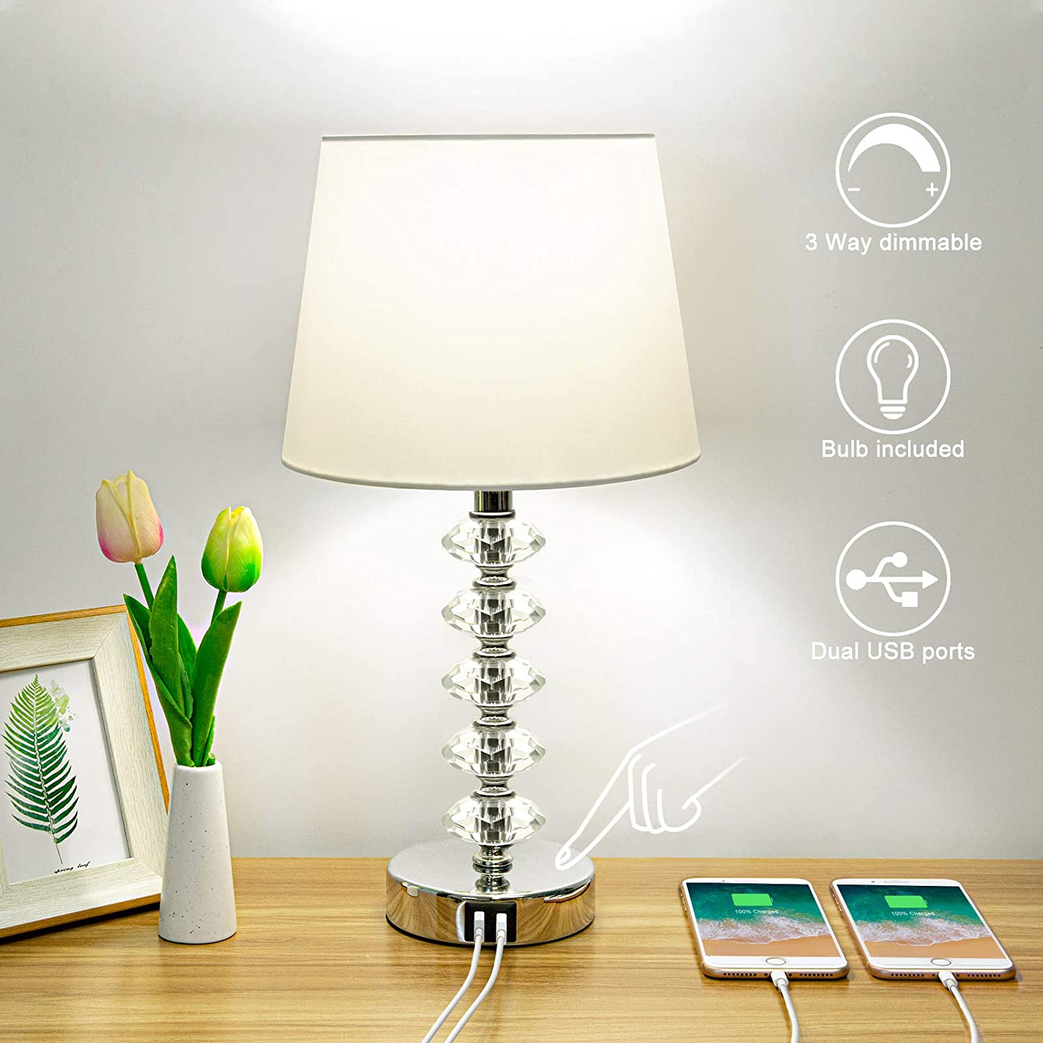 Touch Control Table Lamp with 2 3 Online limited Genuine Free Shipping product Ports USB Boncoo Dimmable Way
