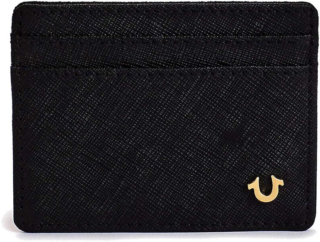 True Religion Men's Saffiano Leather El Paso Mall Card Shipping included Wallet Black Case in