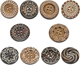 HOUSWEETY 20 Mixed Pattern 4Holes Wood Big Sewing Buttons for Sweater Overcoat 6cm