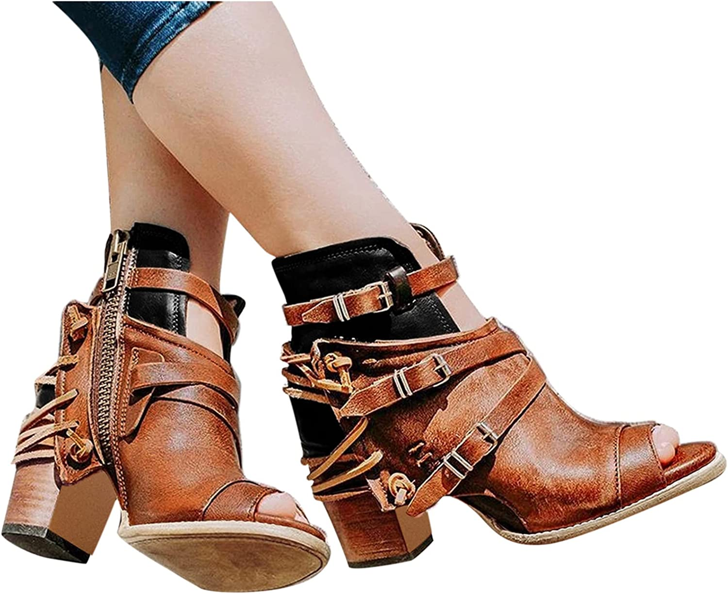 Xudanell Booties for Women Peep Toe latest St Buckled New item Heel Block Chunky