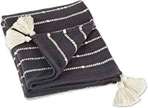 DII Striped Throw Collection Cotton Slub, Hand-Tied Tassels, 50x60, Mineral Gray & Off-White