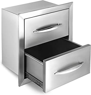 Happybuy Outdoor Kitchen Drawer 18x15 Inch Stainless Steel Double Access BBQ Drawers with Handle