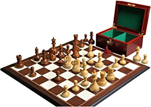 The Mechanics Institute Chess Set, Box, Board Combination - Golden Rosewood and Natural Boxwood
