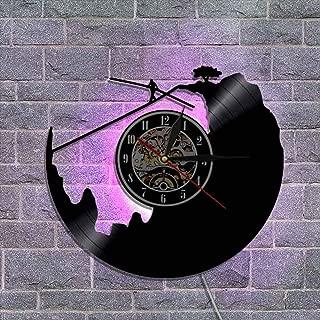 ビニールレコード壁掛け時計 クリエイティブウォールデコレーションギフト リモコンナイトライトクロック 30cm-スポーツシリーズ,A