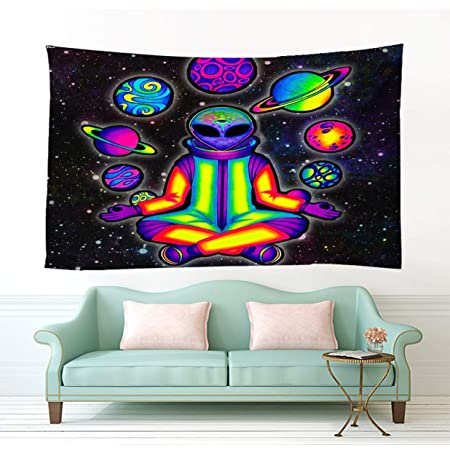 Amazon Com Bit Better Alien Decor Tapestry Cool Psychedelic Alien Stuff Wall Art For Home Wall Hanging Alien Wall Tapestry For Bedroom Room Decor 51 59 In 130 150cm Home Kitchen