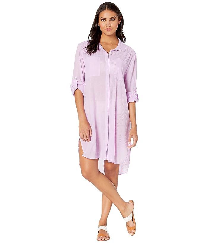Seafolly Crinkle Twill Beach Shirt (Lilac) Women