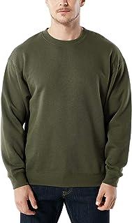 TSLA Men's Fleece Crewneck Sweatshirts, Thermal Soft Cotton Blend Pullover, Lightweight Workout Winter Shirts