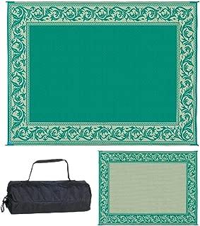 Stylish Camping RA4 9-Feet x 12-Feet RV Reversible Outdoor Mat, Green/Beige Classical Patio Mat
