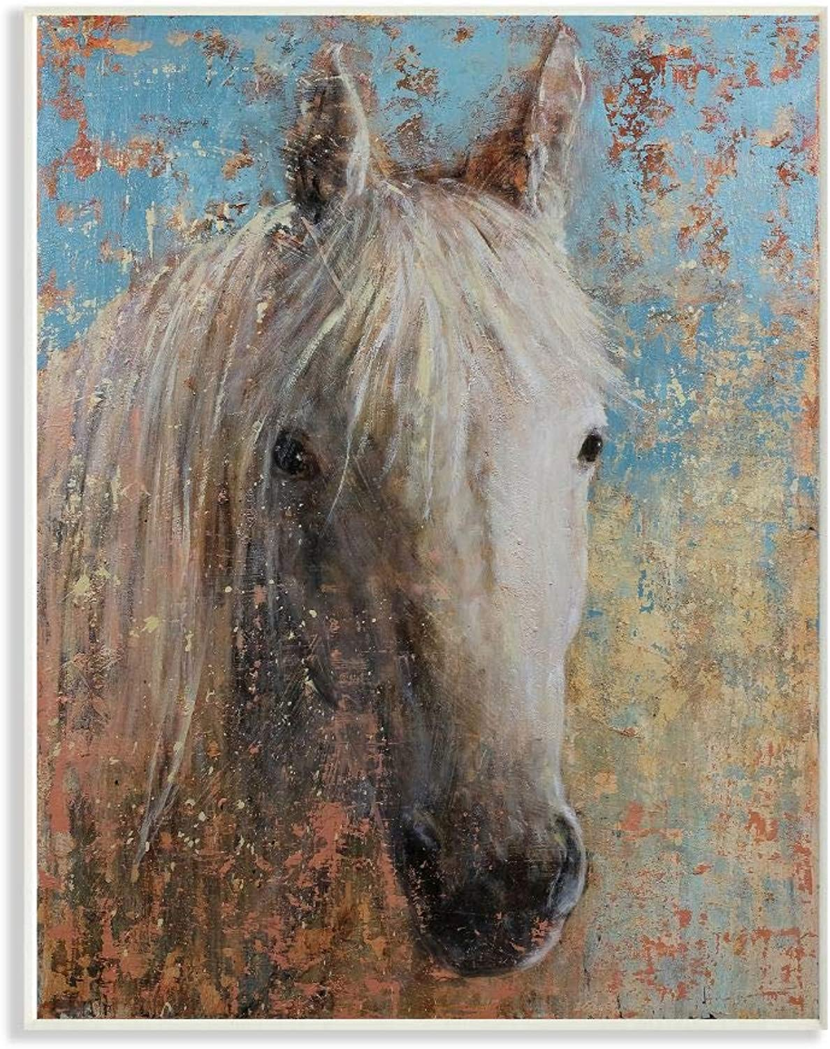 The Stupell Home Decor Collection aap-289_wd_12x18 White Horse Portrait Distressed Surface bluee Painting Wall Plaque Art, 12 x 18
