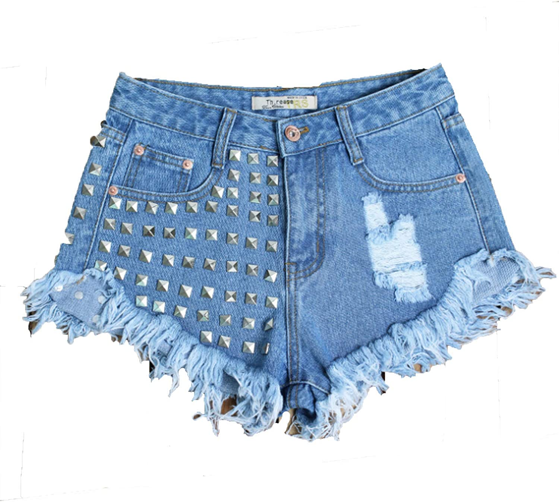 Women's Award-winning store Jeans Shorts Blue Ripped Rivets Denim Pan Rapid rise high hot Waist
