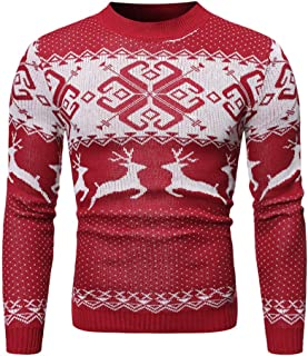iZHH Mens Christmas Costume Pullover Sweater Jumper Top Knitted Outerwear O Neck