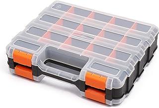 سازمان دهنده ابزار دو طرفه CASOMAN با پلیمر مقاوم در برابر ضربه و تقسیم کننده های پلاستیکی قابل جدا شدن ، ذخیره سازی جعبه سخت افزار ، عالی برای پیچ ها ، مهره ها ، قطعات کوچک ، 34 محفظه ، سیاه / نارنجی