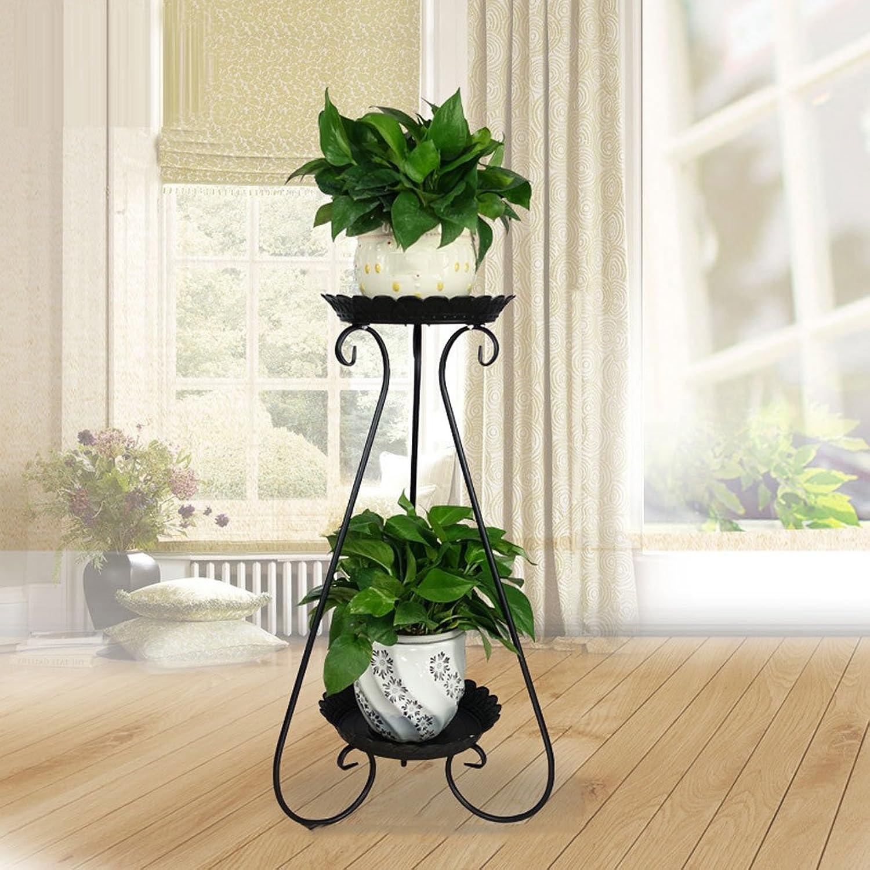 MEI-Drainable Flower Rack Wrought Iron Flower Stand, Multi-Layer Balcony Rack, Floor-Standing Flower Pot Shelves Ladder (color   Black)