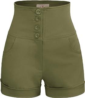 GRACE KARIN Women's Retro High Waist Buttons Front Short Pants with Pockets