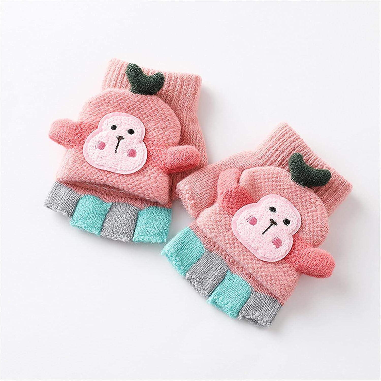 JSJJAWS Winter Gloves Kids Winter Fingerless Gloves Baby Girls Clamshell Half Finger Gloves Warm Soft Knitted Gloves Baby Mittens (Baby Age : 19-24 Months, Color : 3)
